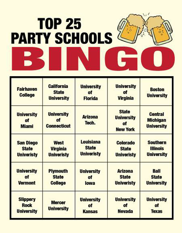 Party School Bingo
